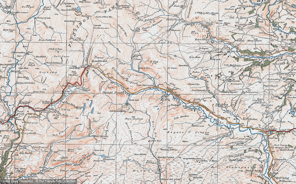 Old Map of Historic Map covering Afon Tarennig in 1922