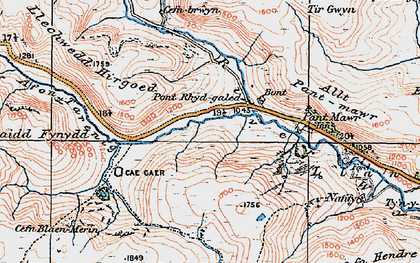 Old map of Afon Tarennig in 1922