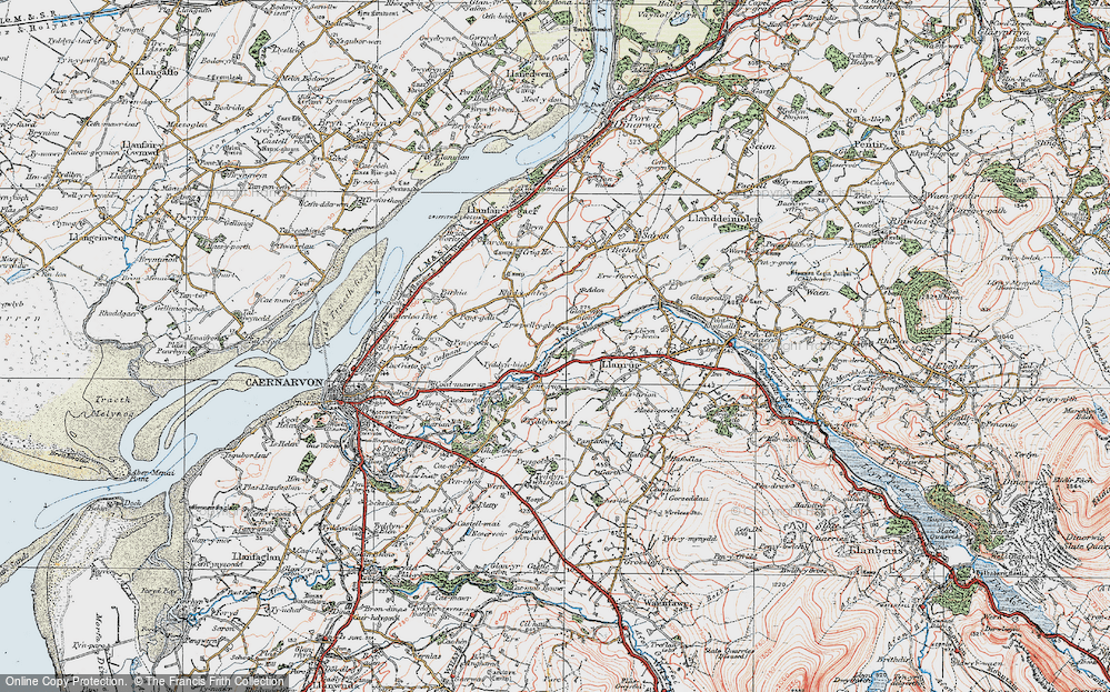 Old Map of Historic Map covering Afon Seiont in 1922