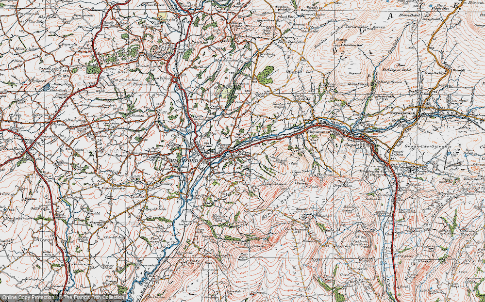 Old Map of Historic Map covering Afon Aman in 1923