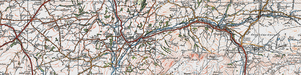 Old map of Afon Aman in 1923