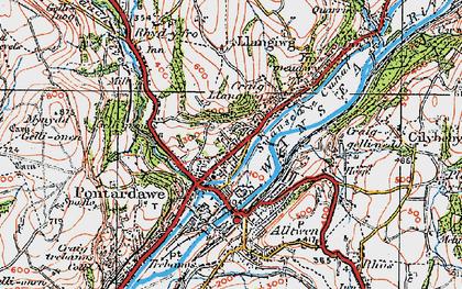 Old map of Pontardawe in 1923