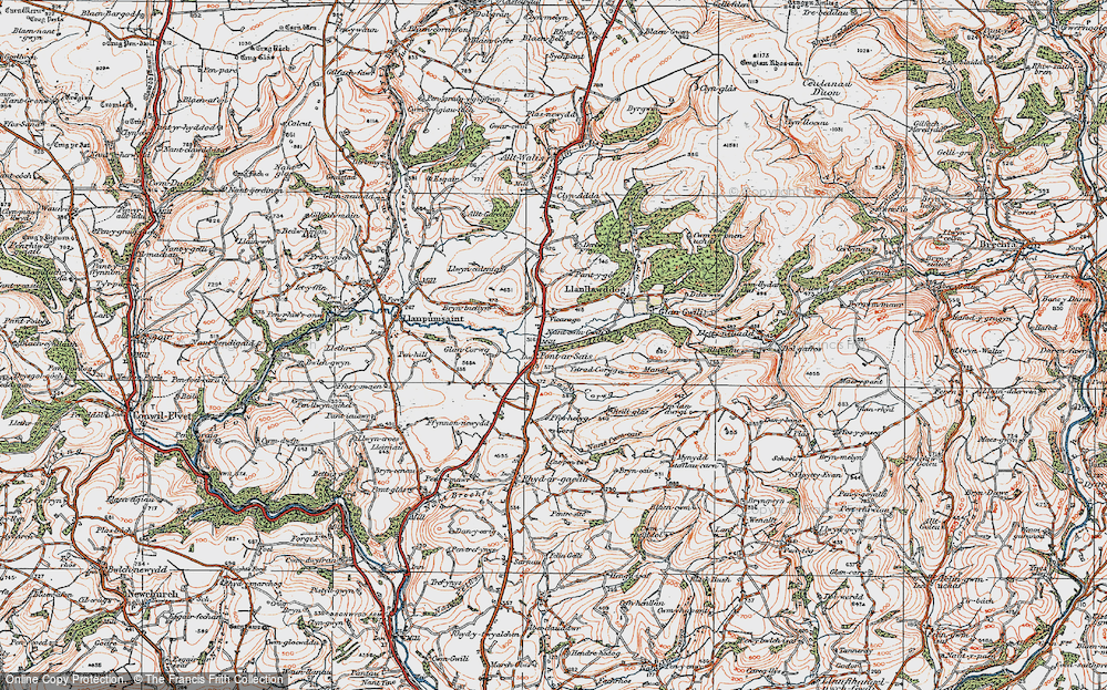 Old Map of Historic Map covering Allt y Bwbach in 1923