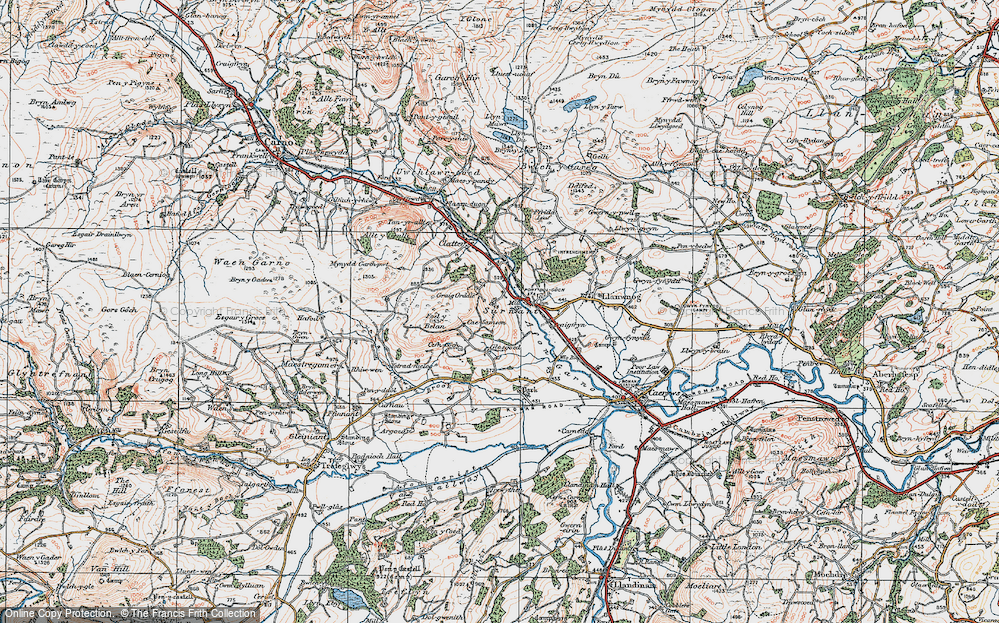 Old Map of Historic Map covering Alltwnnog in 1921