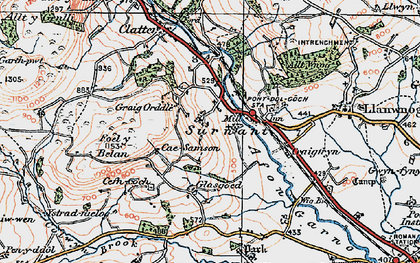 Old map of Alltwnnog in 1921