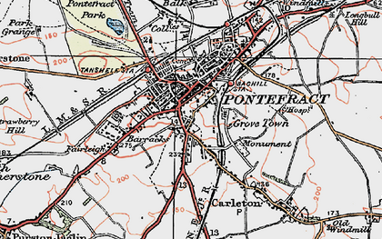Old map of Pontefract in 1925