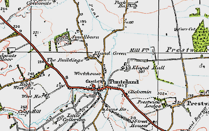 Old map of Ponteland in 1925