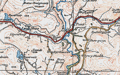 Old map of Ponterwyd in 1922
