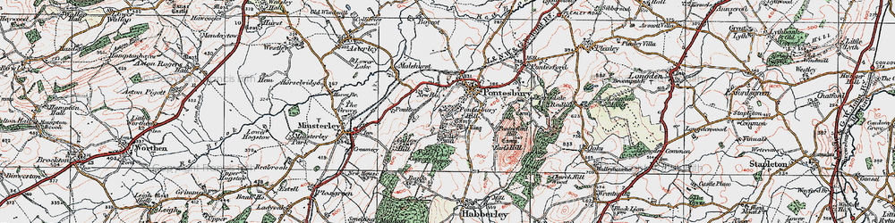 Old map of Lees Coppice in 1921