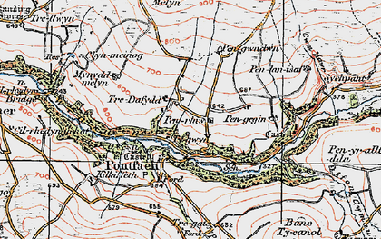 Old map of Afon Gwaum in 1923