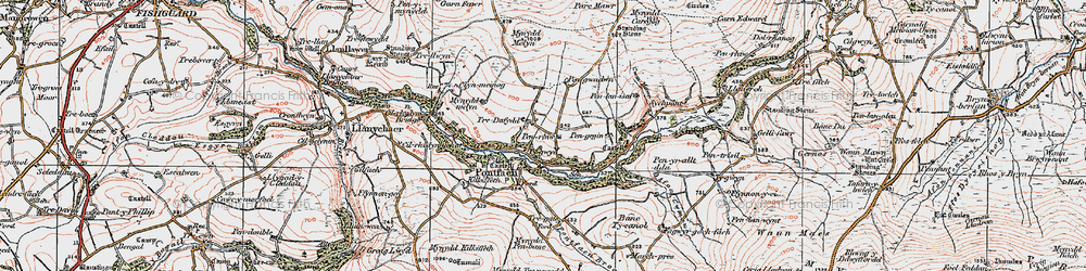 Old map of Afon Gwaum in 1923