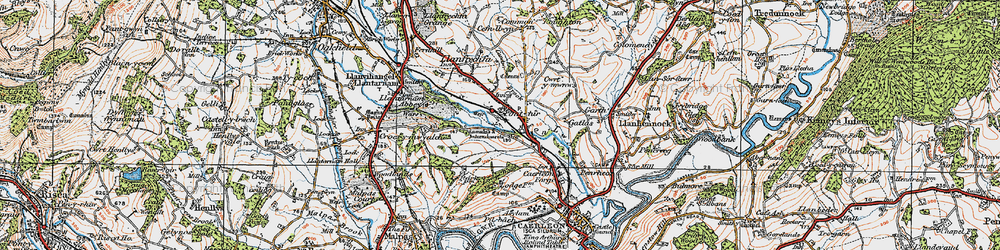 Old map of Ponthir in 1919