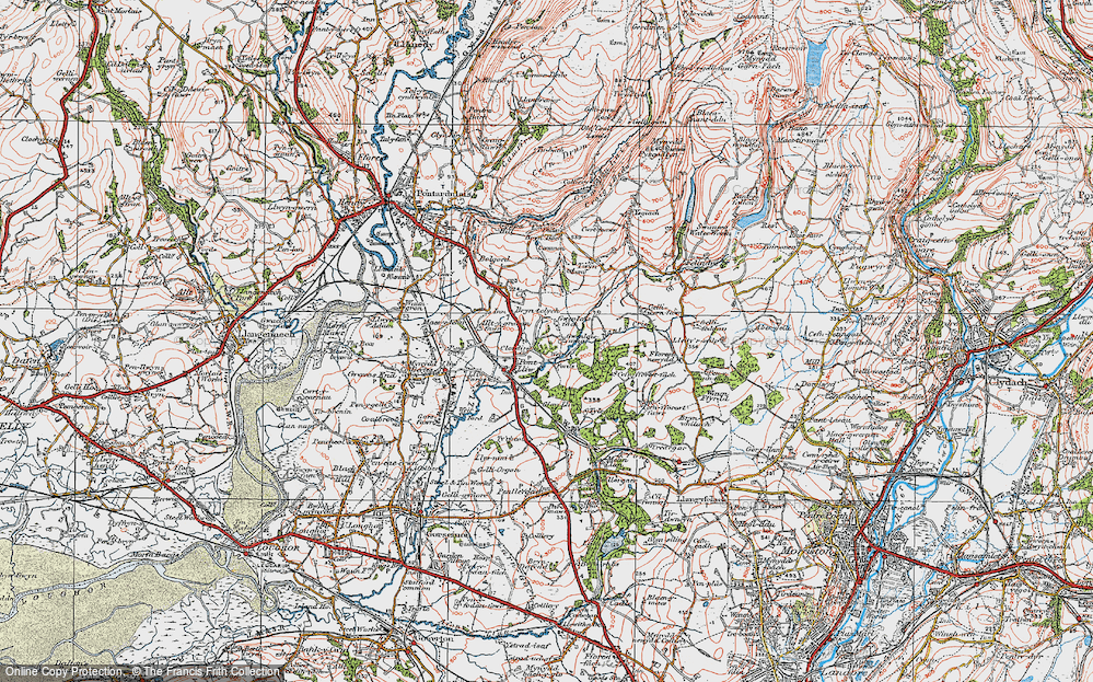 Old Map of Pontlliw, 1923 in 1923