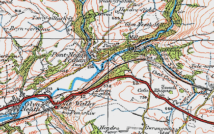 Old map of Pontneddfechan in 1923