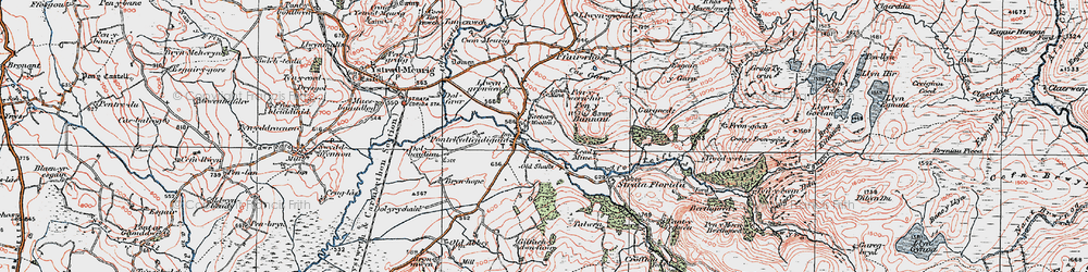 Old map of Pontrhydfendigaid in 1922