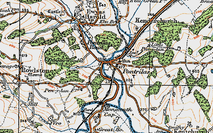 Old map of Pontrilas in 1919