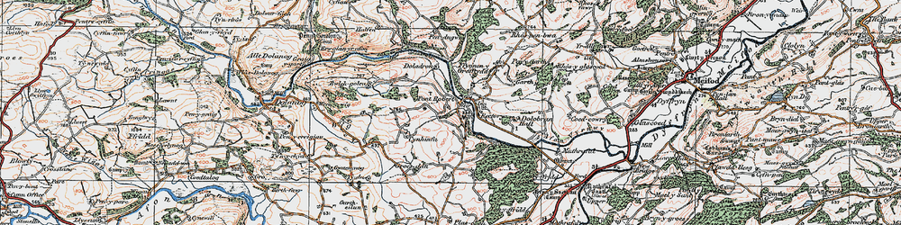 Old map of Pontrobert in 1921