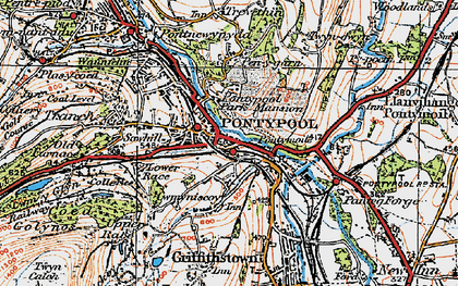 Old map of Pontypool in 1919