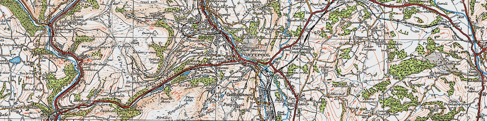 Old map of Pontypool in 1919