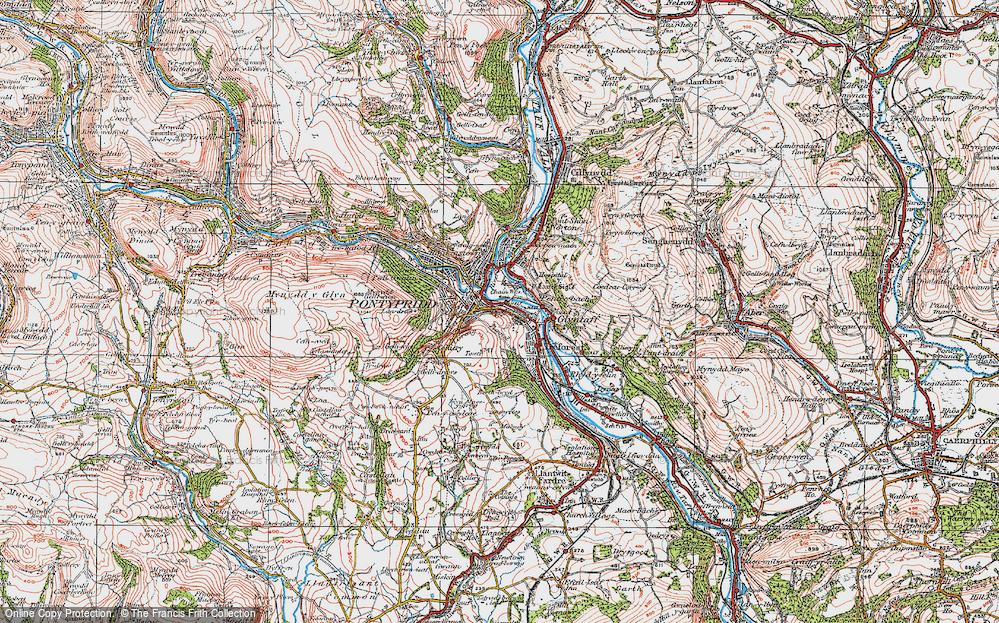 Old Map of Pontypridd, 1922 in 1922