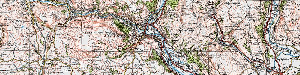 Old map of Pontypridd in 1922