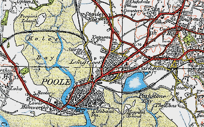 Old map of Poole in 1919