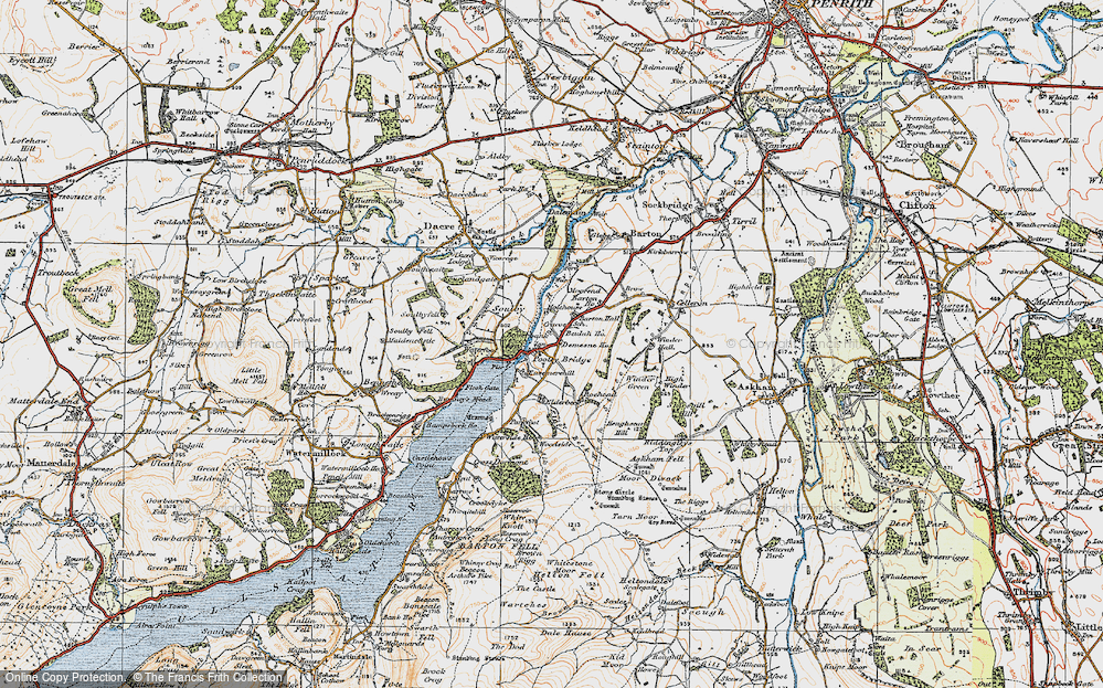 Old Map of Historic Map covering Aik Beck in 1925