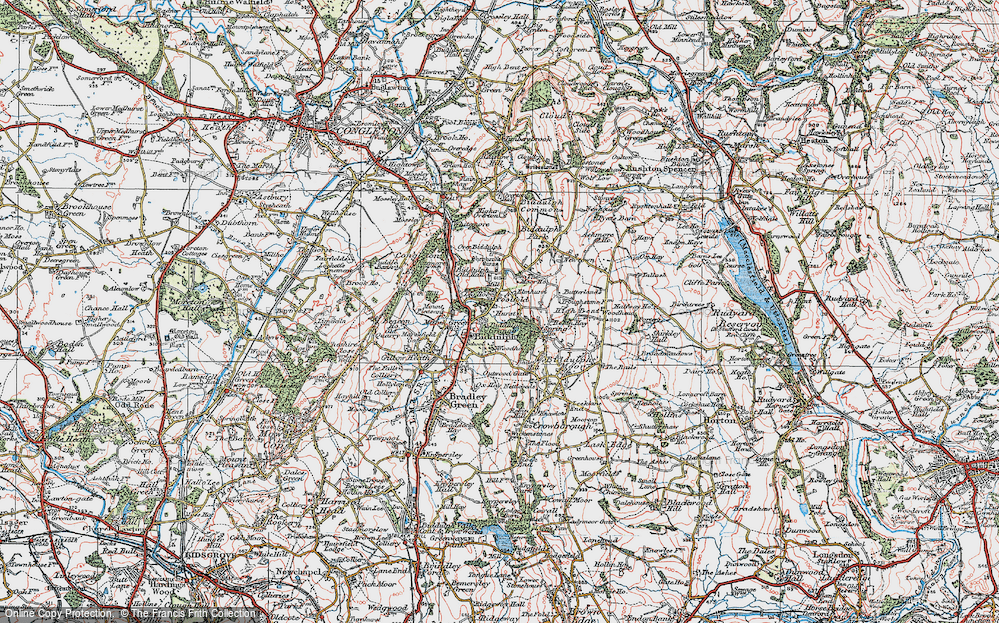 Old Map of Historic Map covering Woodhouse in 1923