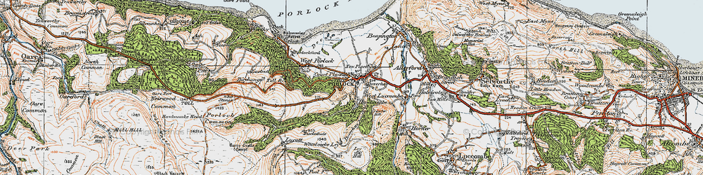 Old map of Porlock in 1919