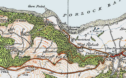 Old map of Porlock Weir in 1919