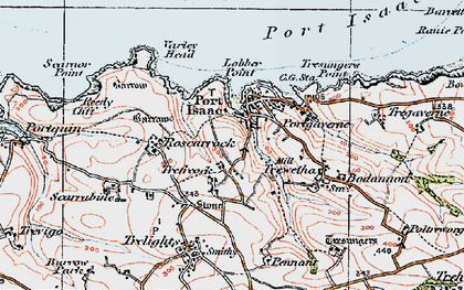 Old map of Port Isaac in 1919