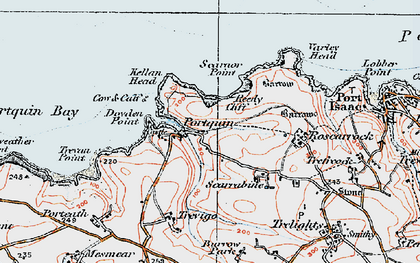 Old map of Port Quin in 1919