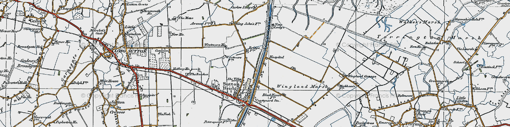 Old map of Wingland Marsh in 1922