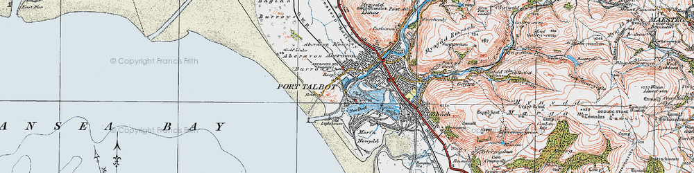 Old map of Port Talbot in 1922