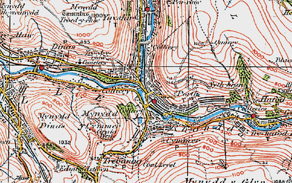Old map of Porth in 1922