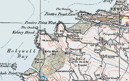 Old map of Porth Joke in 1919