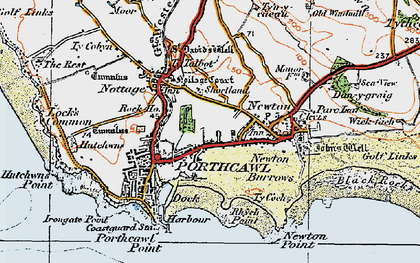 Old map of Porthcawl in 1922