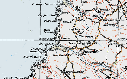 Old map of Porthcothan Bay in 1919