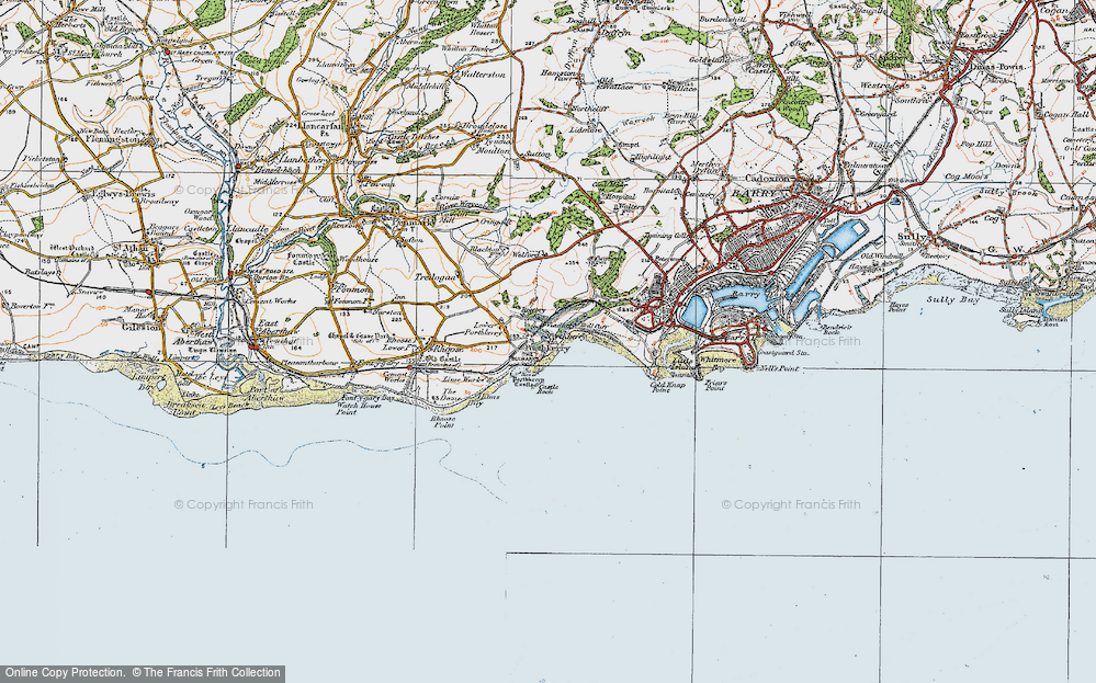 Old Map of Porthkerry, 1922 in 1922