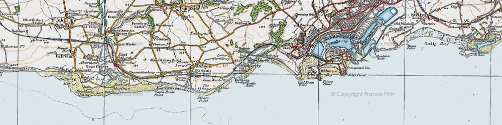 Old map of Porthkerry in 1922
