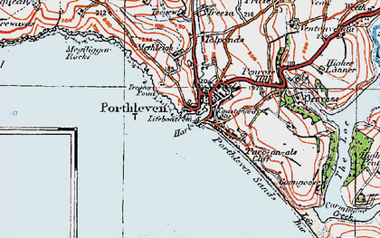 Old map of Porthleven in 1919