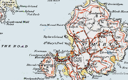Old map of Bant's Carn in 1919