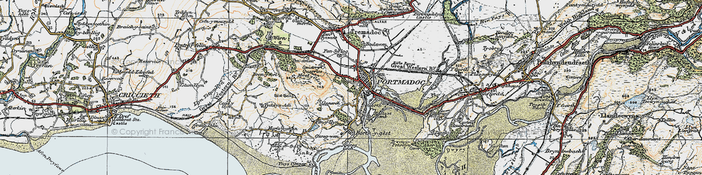 Old map of Porthmadog in 1922
