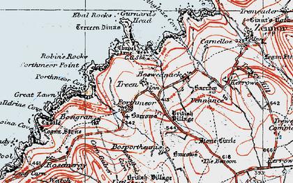 Old map of Gurnard's Head in 1919