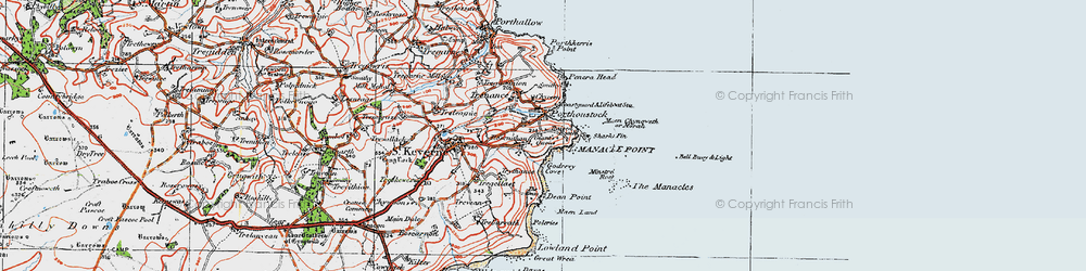 Old map of Porthoustock in 1919