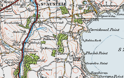 Old map of Porthpean in 1919