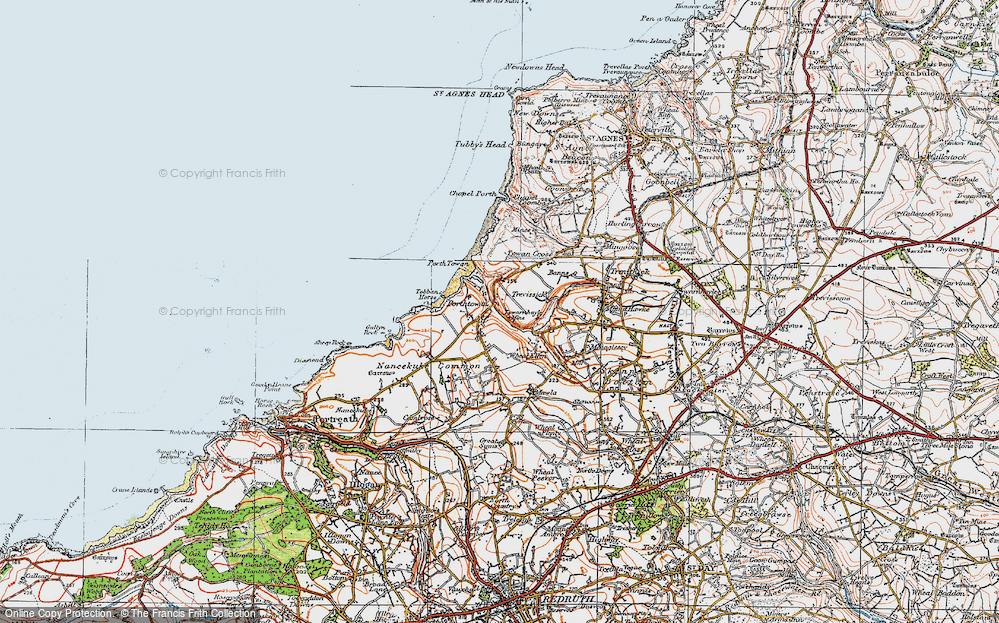 Old Map of Porthtowan, 1919 in 1919