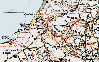 Old map of Porthtowan in 1919