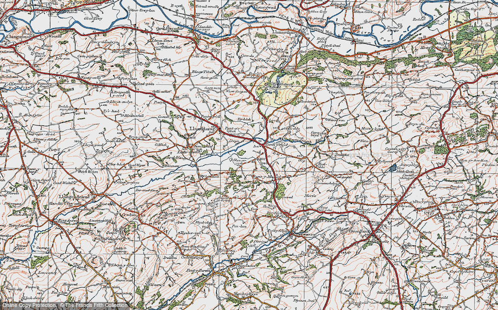 Old Map of Historic Map covering Lanfawr in 1923