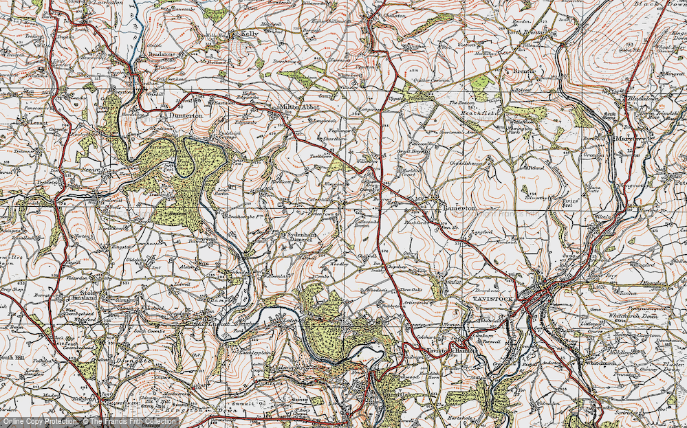 Old Map of Historic Map covering Wonwood in 1919